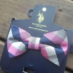 Polo Ass. Bow Tie - pre-tied pink blue new